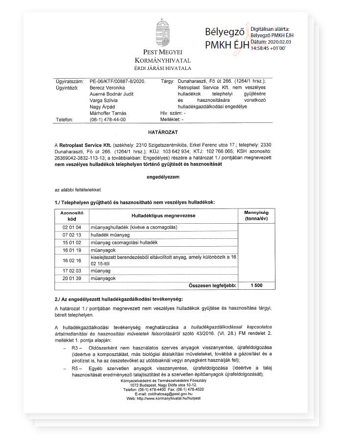 Waste management permit